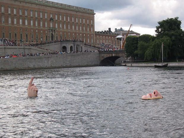 Man in the Water, Stockholm, Sweden