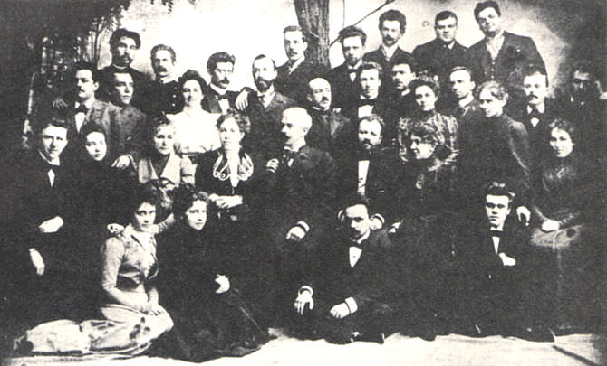 Original company members of the Moscow Art Theatre (Московский Академический Театр) in 1899.
