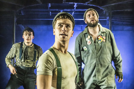 Jonathan Slinger, Richard Fleeshman and Jeff Nicholson in Urinetown at the St James Theatre