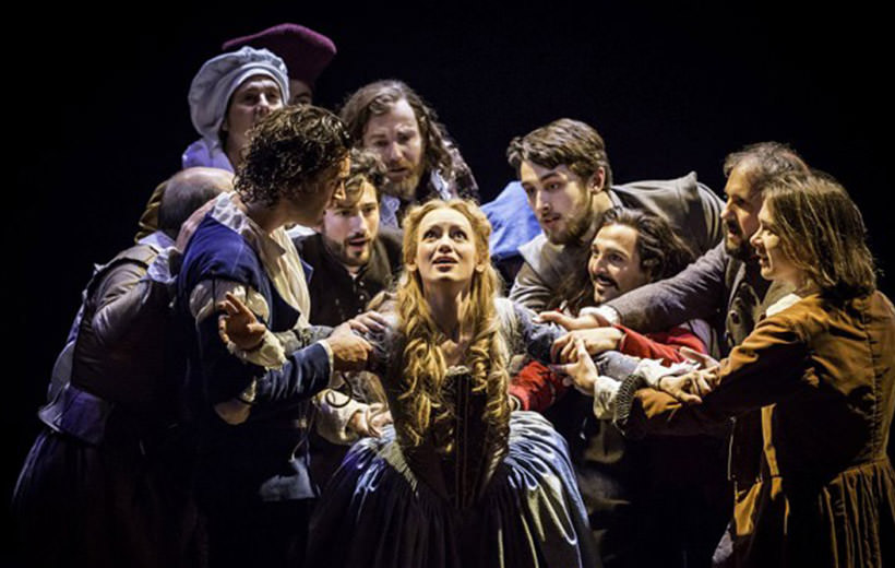 Shakespeare In Love 5 - Lucy Briggs-Owen as Viola with Company. Photo by Johan Persson Disney.jpg